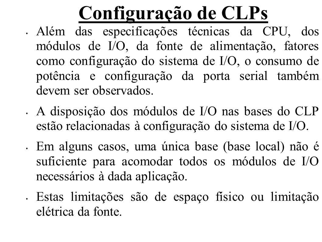 Configuração de CLPs Quanto ao espaço físico temos o limite de slots disponíveis menor que quantia de I/O usados; Quanto a limitação elétrica, temos que a corrente fornecida ao barramento base < corrente consumida pelos módulos de I/O; Nestes casos, é preciso a utilização de bases de expansões locais.