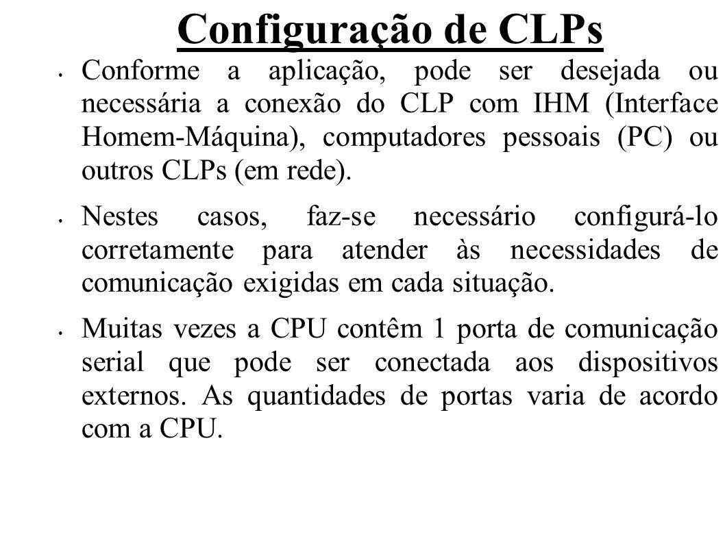 Configuração de CLPs Conforme a aplicação, pode ser desejada ou necessária a conexão do CLP com IHM (Interface Homem-Máquina), computadores pessoais (