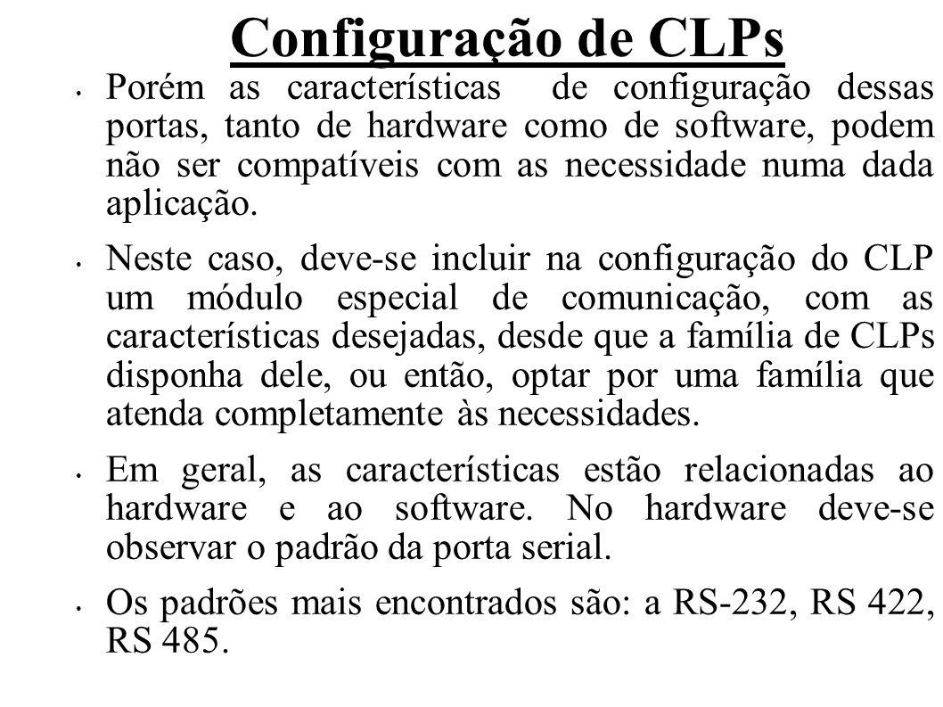 Configuração de CLPs RS-232: padrão EIA (Electronic Industries Association) para transmissão de dados por meio de cabo par trançado em distâncias de até 15 metros.