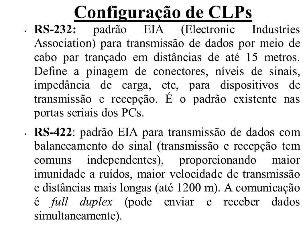 Configuração de CLPs RS-232: padrão EIA (Electronic Industries Association) para transmissão de dados por meio de cabo par trançado em distâncias de a