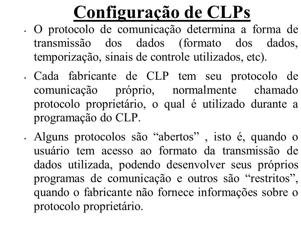 Configuração de CLPs No entanto, há CPUs que, além de suportarem protocolo proprietário, suportam protocolos padrões (moldbus, por exemplo), permitindo comunicação com dispositivos e softwares fornecidos por outros fabricantes, além de conexão em rede.
