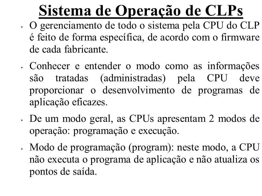 Sistema de Operação de CLPs A função principal deste modo é permitir a transferência e/ou alteração do programa de aplicação, por meio de ferramenta de programação usada.