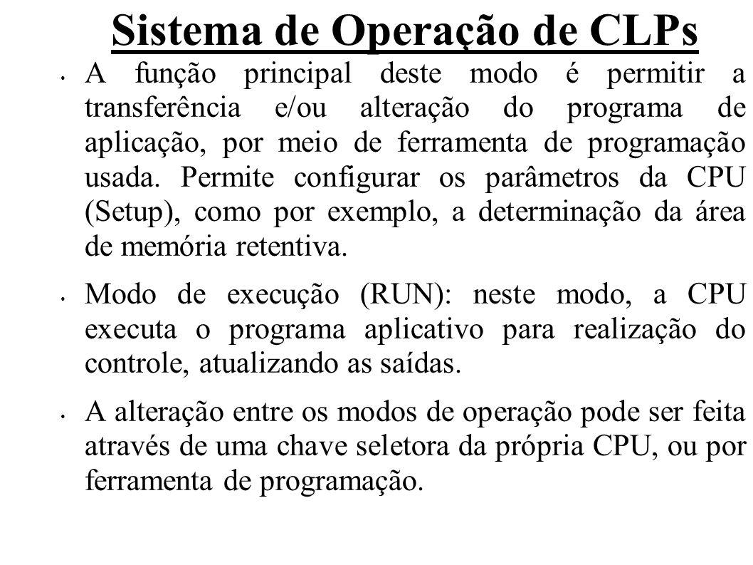 Sistema de Operação de CLPs Algumas CPUs podem apresentar outras opções de posições para a chave seletora, como por exemplo, term (indica que o modo de operação será determinado por um dispositivo externo – terminal, ou seja pela ferramenta de programação, e stop, que força a CPU ao modo de parada, porém não permite a alteração do programa de aplicação.