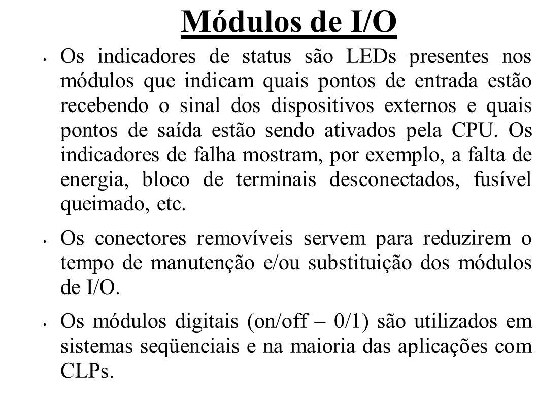 Módulos de I/O Os indicadores de status são LEDs presentes nos módulos que indicam quais pontos de entrada estão recebendo o sinal dos dispositivos ex