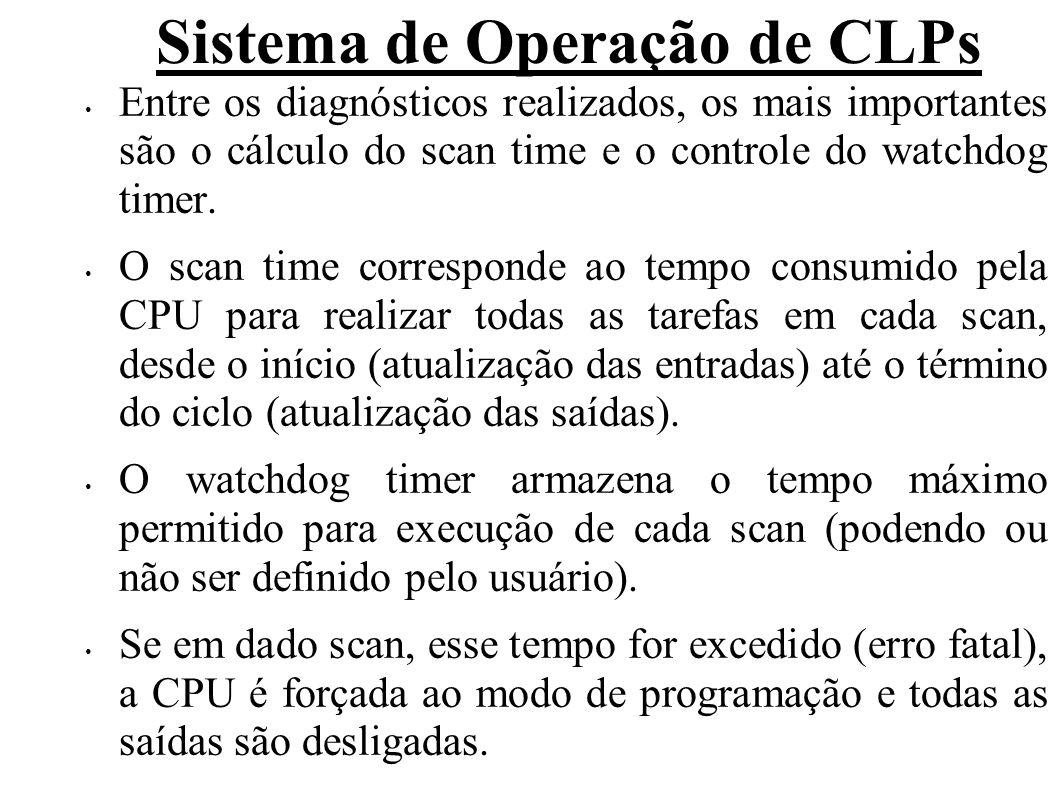 Sistema de Operação de CLPs Caso contrário, o valor do scan time é armazenado em uma variável apropriada (para realizar estatística, por exemplo com o tempo máximo e mínimo) e juntamente com o watchdog é reinicializado, sendo controlados a cada scan.