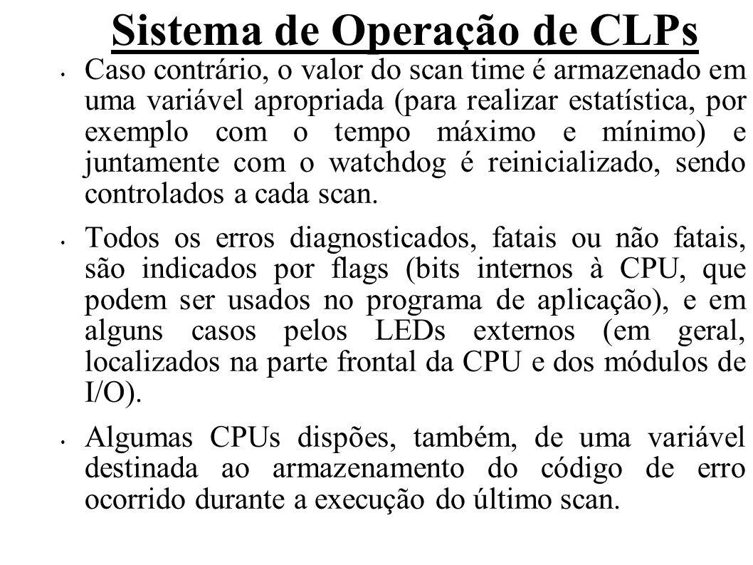 Sistema de Operação de CLPs Caso contrário, o valor do scan time é armazenado em uma variável apropriada (para realizar estatística, por exemplo com o