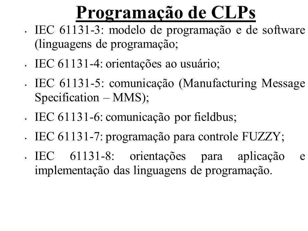 Programação de CLPs IEC 61131-3: modelo de programação e de software (linguagens de programação; IEC 61131-4: orientações ao usuário; IEC 61131-5: com