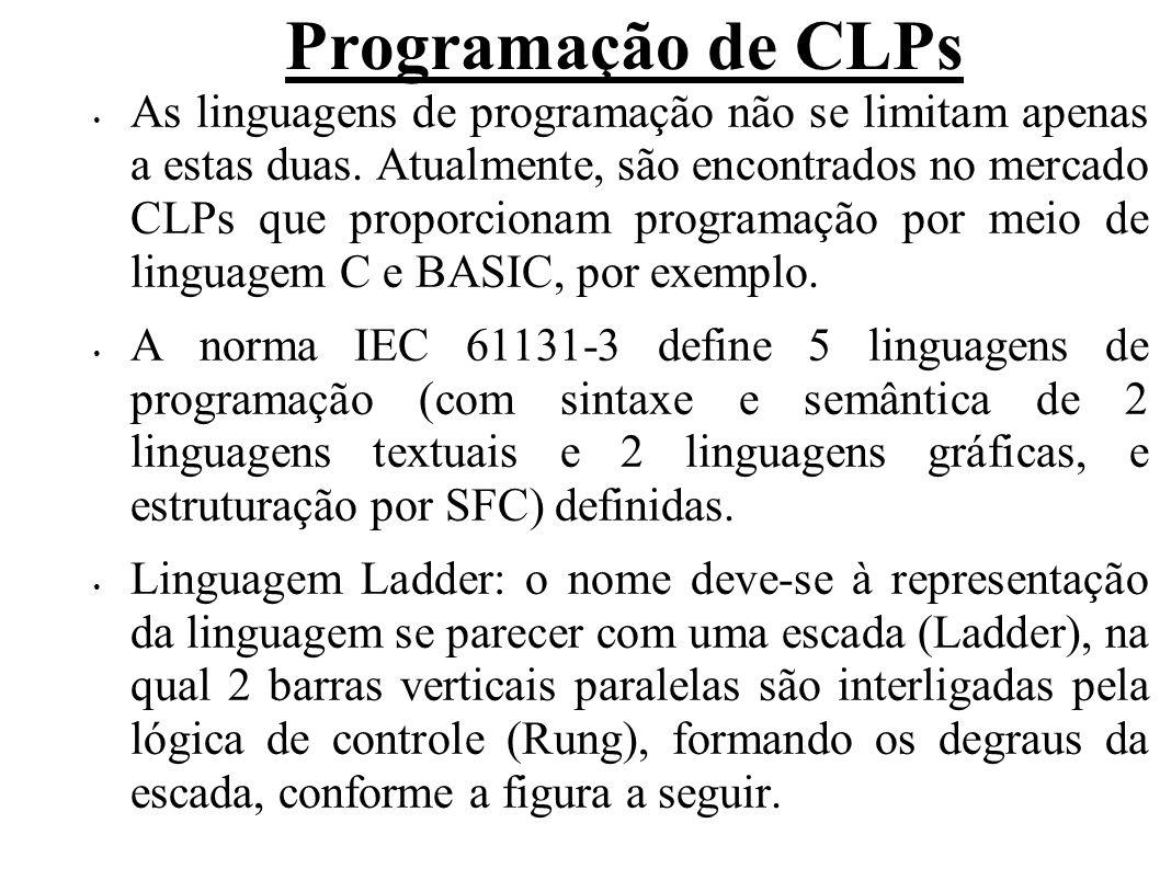 Programação de CLPs As linguagens de programação não se limitam apenas a estas duas. Atualmente, são encontrados no mercado CLPs que proporcionam prog