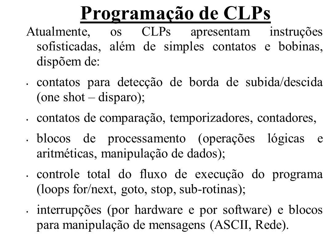 Atualmente, os CLPs apresentam instruções sofisticadas, além de simples contatos e bobinas, dispõem de: contatos para detecção de borda de subida/desc