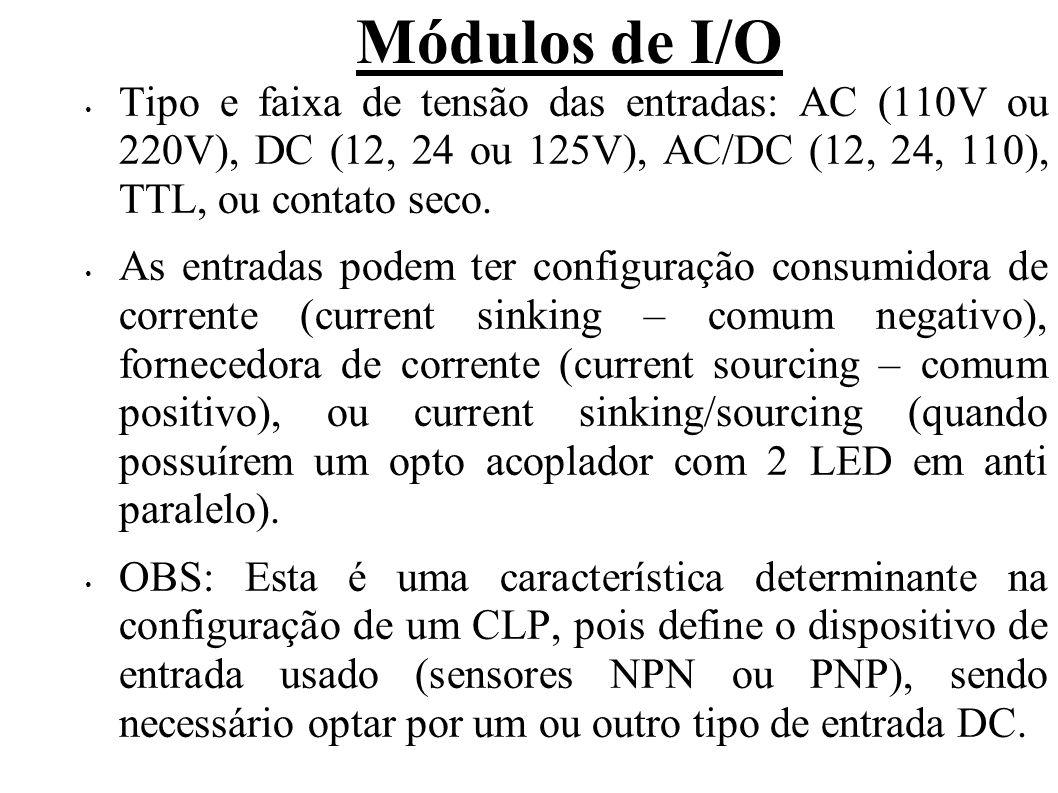 Módulos de I/O Tipo e faixa de tensão das entradas: AC (110V ou 220V), DC (12, 24 ou 125V), AC/DC (12, 24, 110), TTL, ou contato seco. As entradas pod