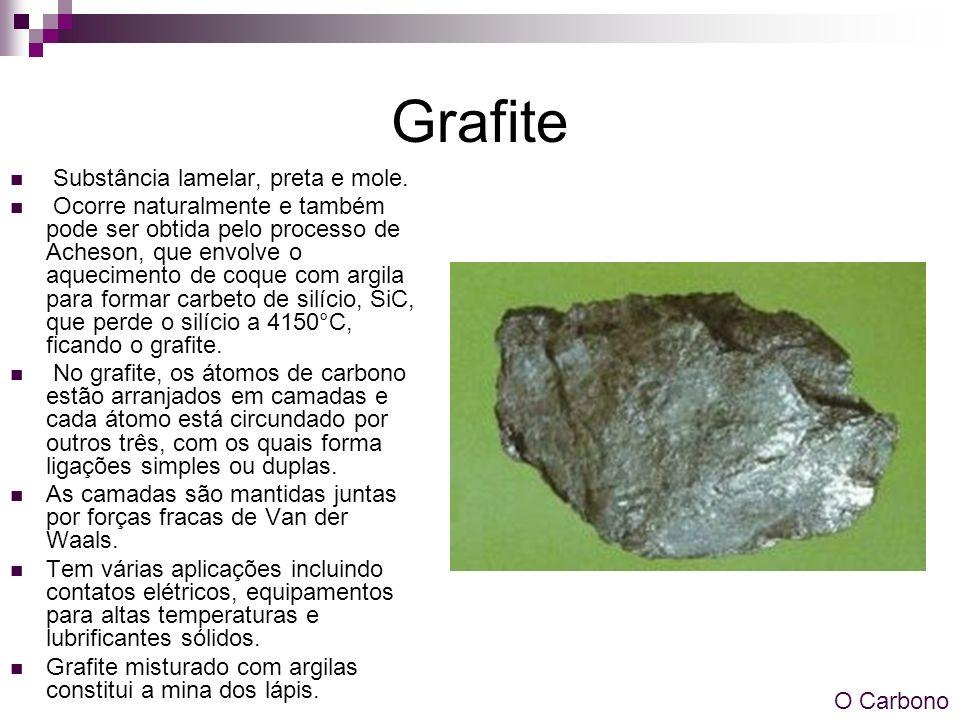 Grafite Substância lamelar, preta e mole. Ocorre naturalmente e também pode ser obtida pelo processo de Acheson, que envolve o aquecimento de coque co