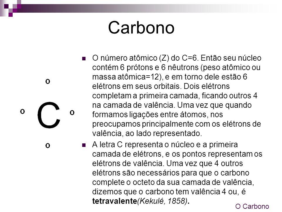 Carbono O número atômico (Z) do C=6. Então seu núcleo contém 6 prótons e 6 nêutrons (peso atômico ou massa atômica=12), e em torno dele estão 6 elétro