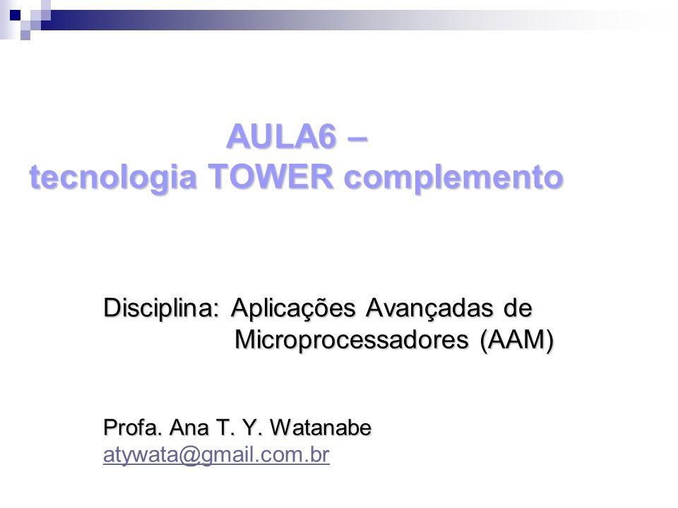 AULA6 – tecnologia TOWER complemento Disciplina: Aplicações Avançadas de Microprocessadores (AAM) Microprocessadores (AAM) Profa. Ana T. Y. Watanabe a