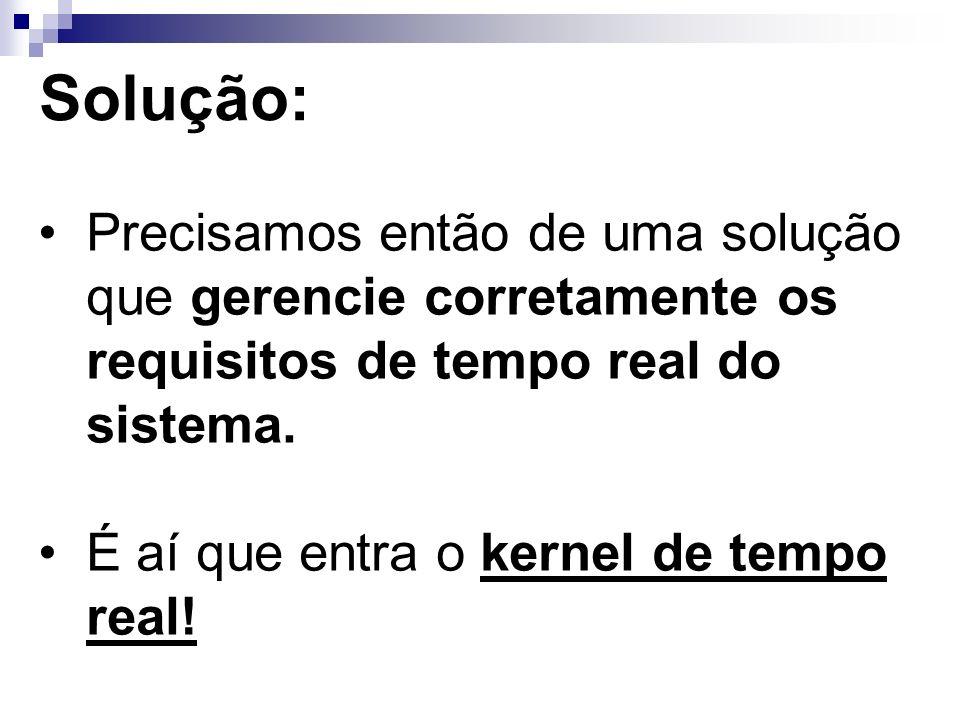 Solução: Precisamos então de uma solução que gerencie corretamente os requisitos de tempo real do sistema. É aí que entra o kernel de tempo real!