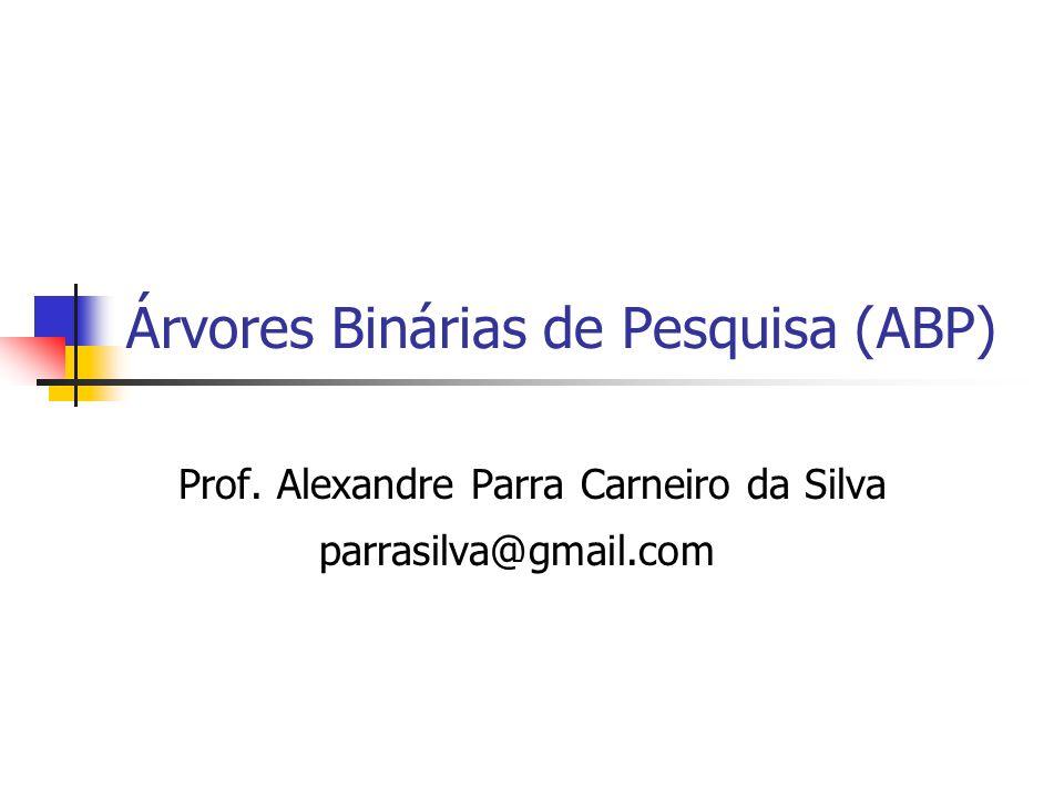 Árvores Binárias de Pesquisa (ABP) Prof. Alexandre Parra Carneiro da Silva parrasilva@gmail.com