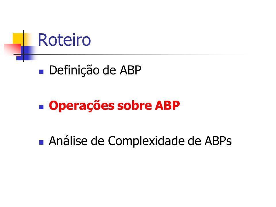 Operações sobre ABP As principais operações são: Consulta; Inserção; Remoção.
