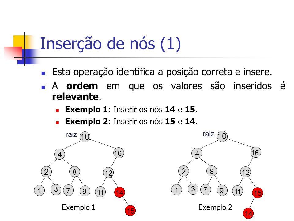 Inserção de nós (1) Esta operação identifica a posição correta e insere. A ordem em que os valores são inseridos é relevante. Exemplo 1: Inserir os nó