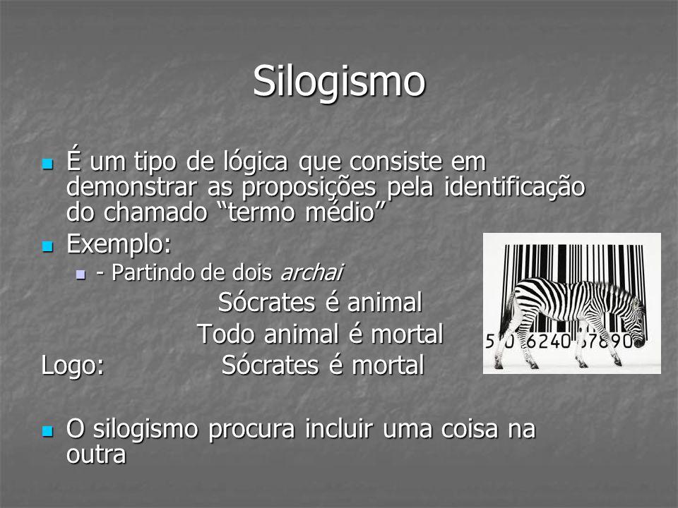 Silogismo É um tipo de lógica que consiste em demonstrar as proposições pela identificação do chamado termo médio É um tipo de lógica que consiste em
