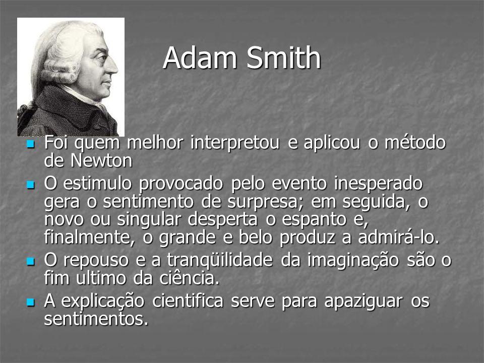 Adam Smith Foi quem melhor interpretou e aplicou o método de Newton Foi quem melhor interpretou e aplicou o método de Newton O estimulo provocado pelo