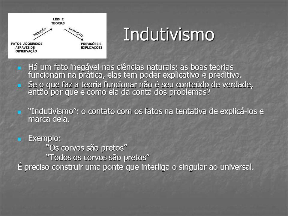 Indutivismo Indutivismo Há um fato inegável nas ciências naturais: as boas teorias funcionam na prática, elas tem poder explicativo e preditivo. Há um