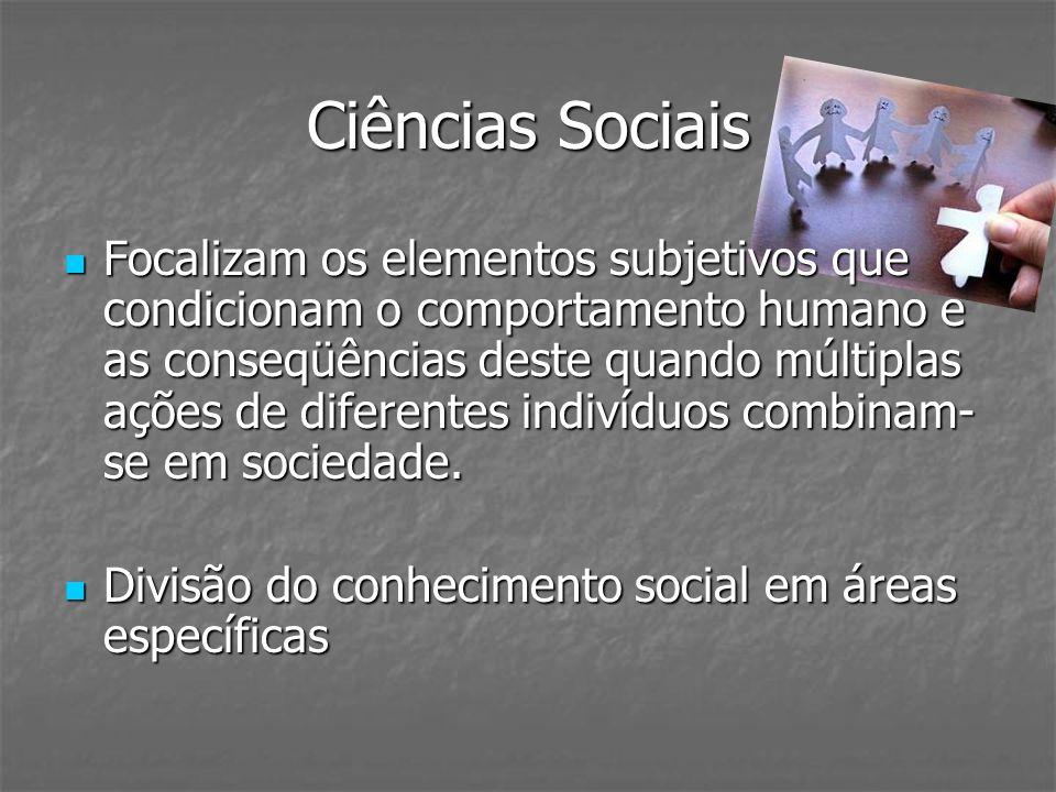 Ciências Sociais Focalizam os elementos subjetivos que condicionam o comportamento humano e as conseqüências deste quando múltiplas ações de diferente