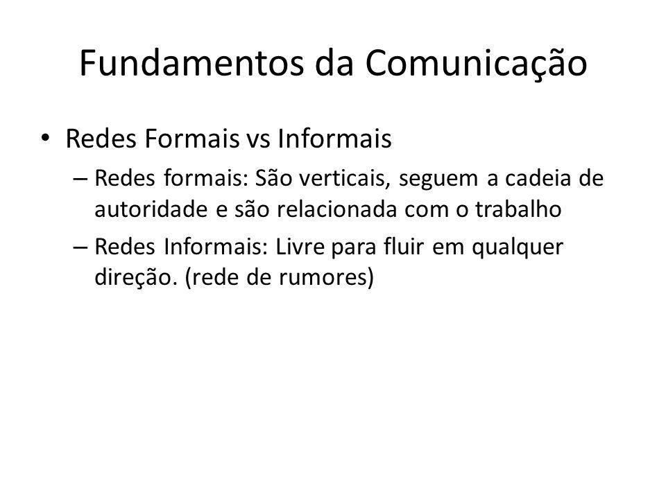 Fundamentos da Comunicação Redes Formais vs Informais – Redes formais: São verticais, seguem a cadeia de autoridade e são relacionada com o trabalho –