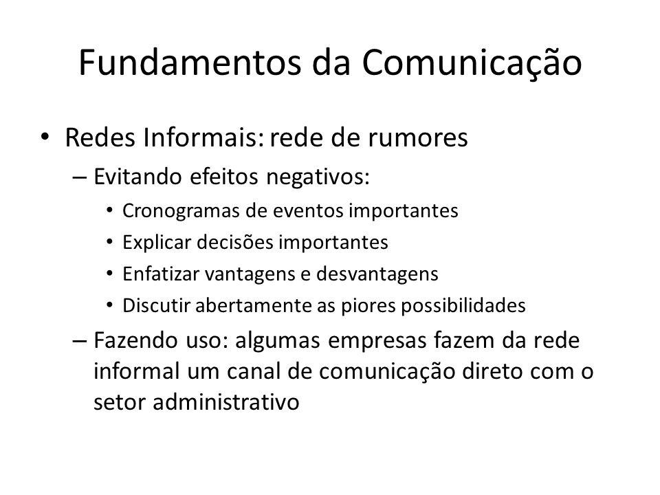 Fundamentos da Comunicação Redes Informais: rede de rumores – Evitando efeitos negativos: Cronogramas de eventos importantes Explicar decisões importa