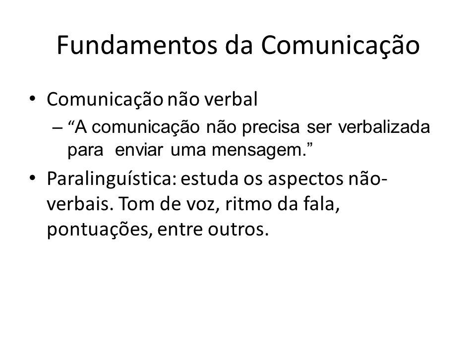 Fundamentos da Comunicação Comunicação não verbal – A comunicação não precisa ser verbalizada para enviar uma mensagem. Paralinguística: estuda os asp