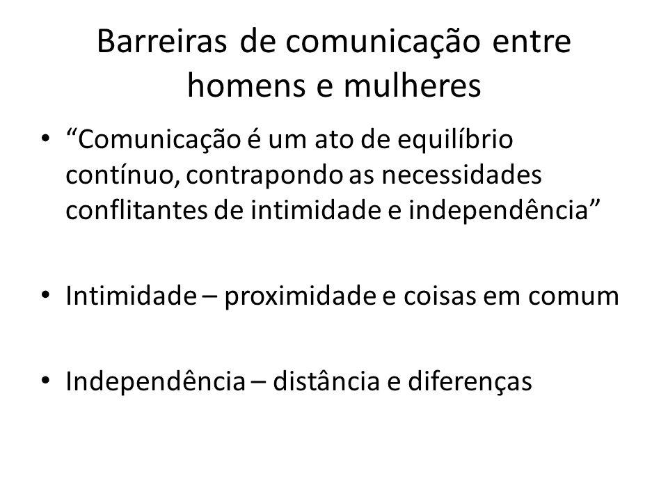 Barreiras de comunicação entre homens e mulheres Comunicação é um ato de equilíbrio contínuo, contrapondo as necessidades conflitantes de intimidade e