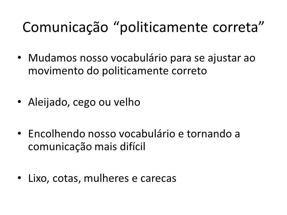 Comunicação politicamente correta Mudamos nosso vocabulário para se ajustar ao movimento do politicamente correto Aleijado, cego ou velho Encolhendo n
