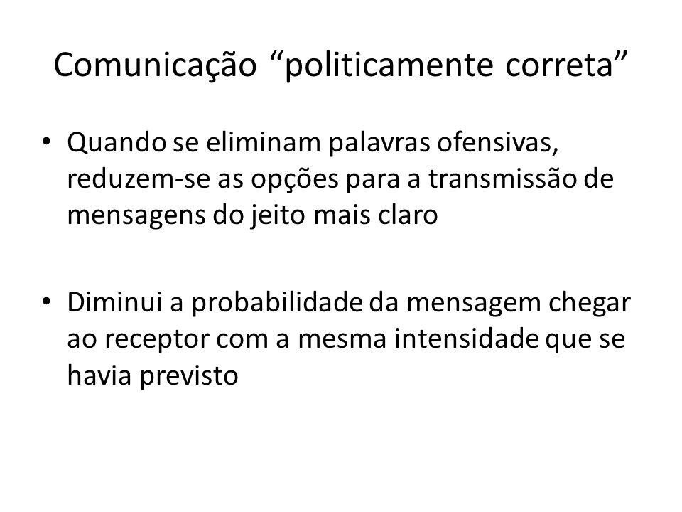 Comunicação politicamente correta Quando se eliminam palavras ofensivas, reduzem-se as opções para a transmissão de mensagens do jeito mais claro Dimi