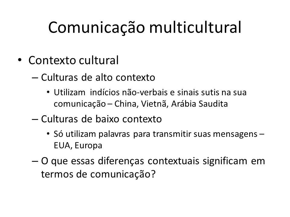 Comunicação multicultural Contexto cultural – Culturas de alto contexto Utilizam indícios não-verbais e sinais sutis na sua comunicação – China, Vietn