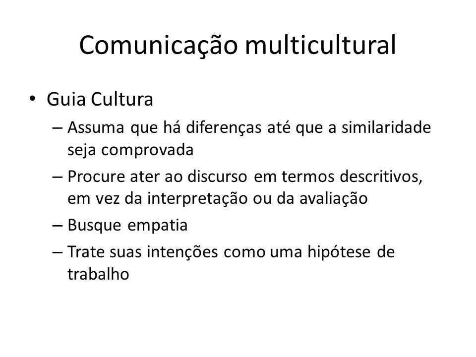 Comunicação multicultural Guia Cultura – Assuma que há diferenças até que a similaridade seja comprovada – Procure ater ao discurso em termos descriti