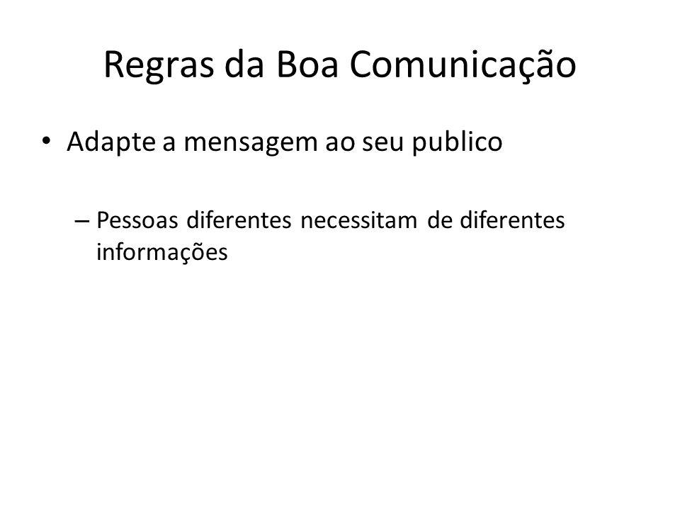 Regras da Boa Comunicação Adapte a mensagem ao seu publico – Pessoas diferentes necessitam de diferentes informações