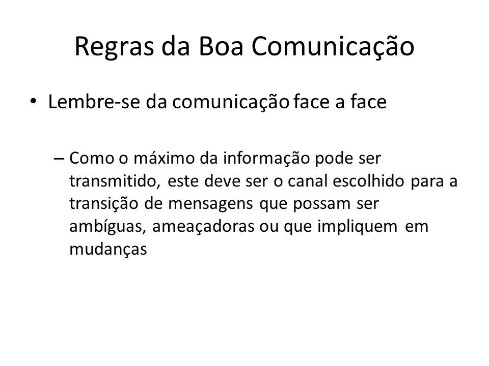 Regras da Boa Comunicação Lembre-se da comunicação face a face – Como o máximo da informação pode ser transmitido, este deve ser o canal escolhido par