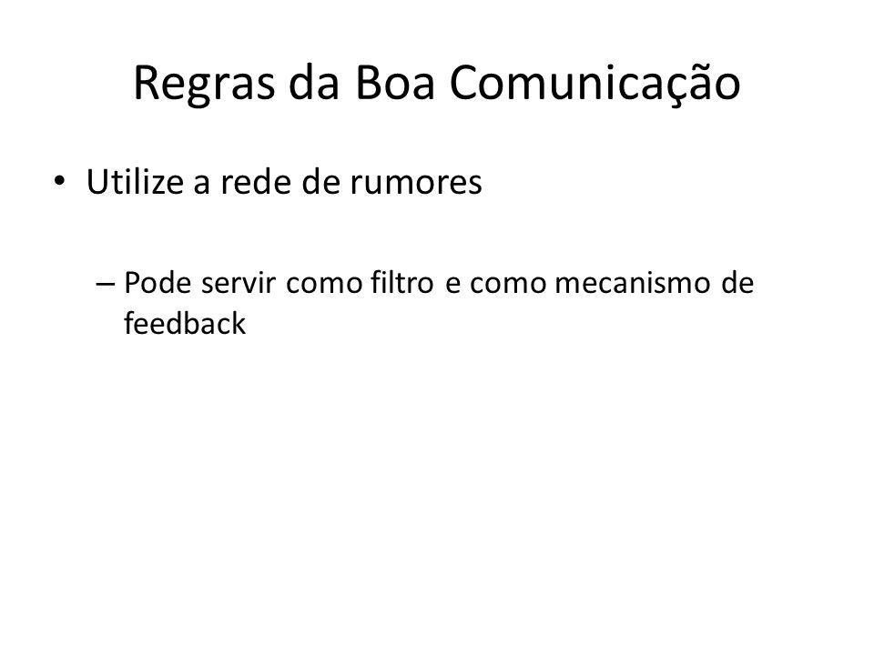 Regras da Boa Comunicação Utilize a rede de rumores – Pode servir como filtro e como mecanismo de feedback