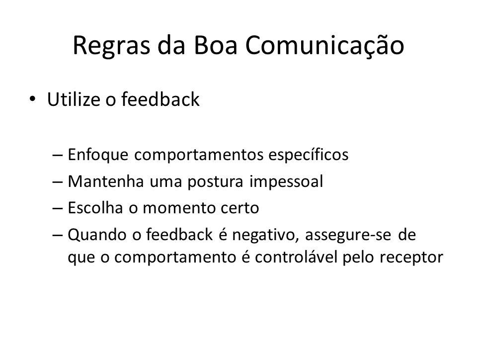 Regras da Boa Comunicação Utilize o feedback – Enfoque comportamentos específicos – Mantenha uma postura impessoal – Escolha o momento certo – Quando