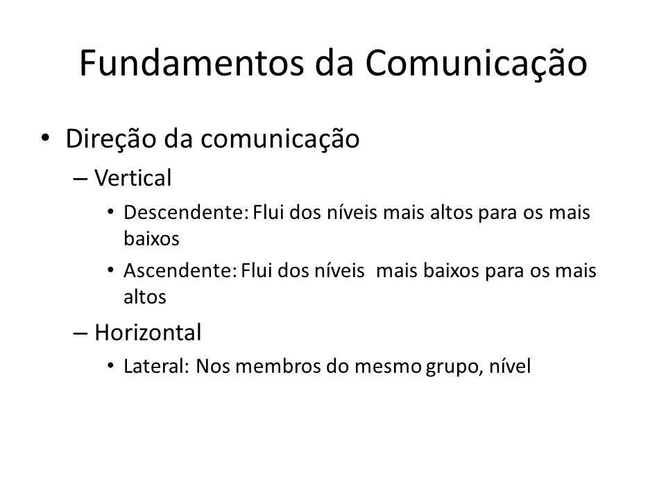 Fundamentos da Comunicação Direção da comunicação – Vertical Descendente: Flui dos níveis mais altos para os mais baixos Ascendente: Flui dos níveis m