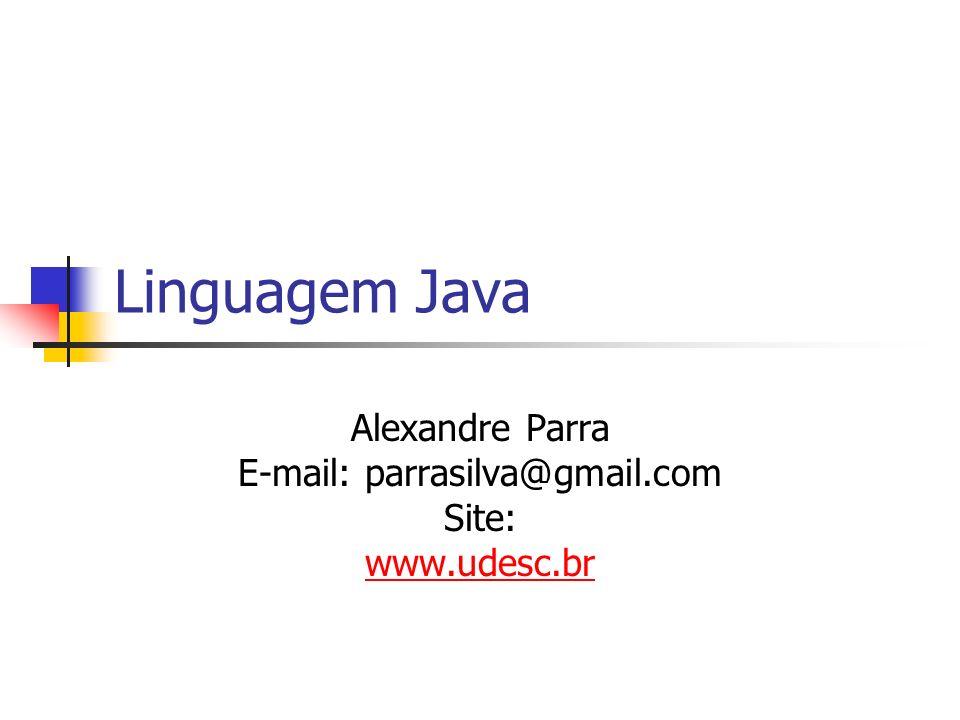 Linguagem Java Alexandre Parra E-mail: parrasilva@gmail.com Site: www.udesc.br