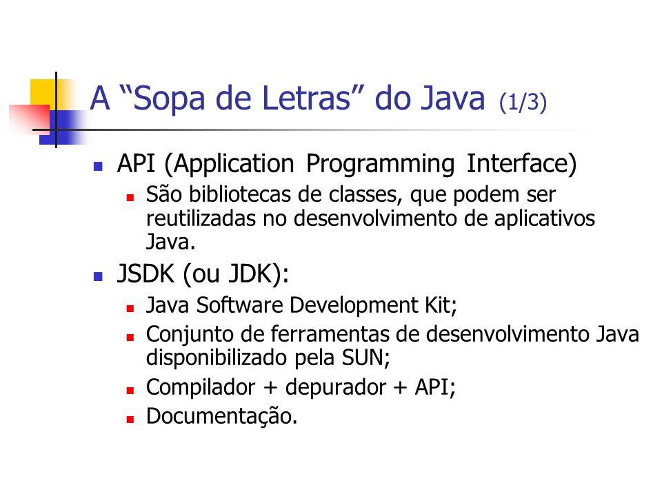 A Sopa de Letras do Java (1/3) API (Application Programming Interface) São bibliotecas de classes, que podem ser reutilizadas no desenvolvimento de ap