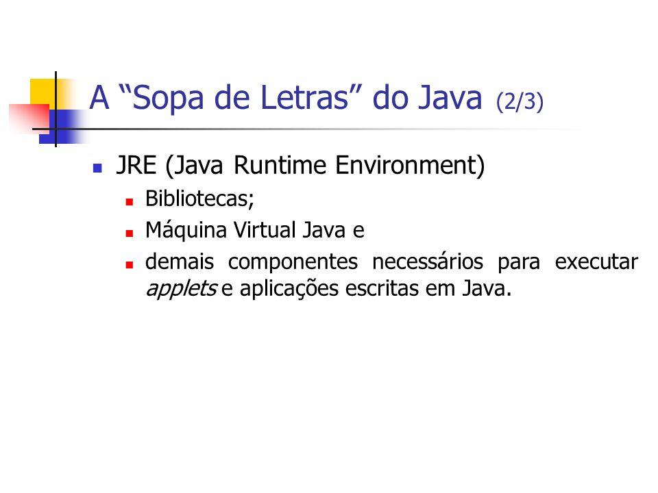 A Sopa de Letras do Java (2/3) JRE (Java Runtime Environment) Bibliotecas; Máquina Virtual Java e demais componentes necessários para executar applets