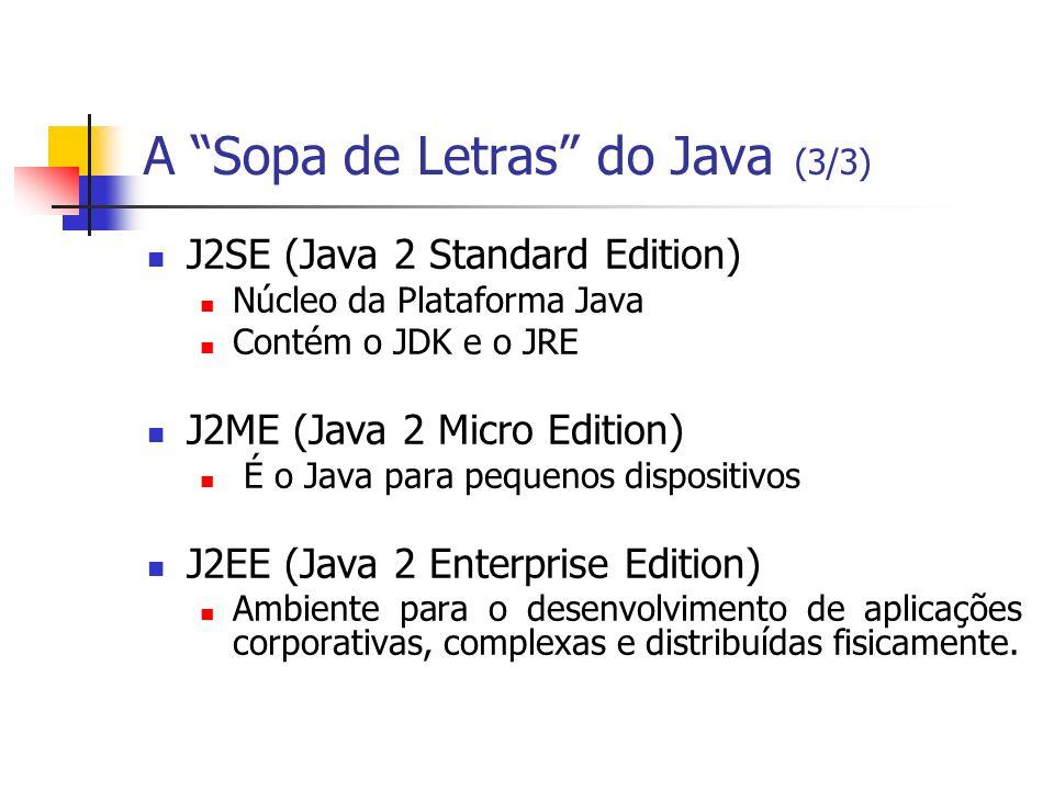 A Sopa de Letras do Java (3/3) J2SE (Java 2 Standard Edition) Núcleo da Plataforma Java Contém o JDK e o JRE J2ME (Java 2 Micro Edition) É o Java para