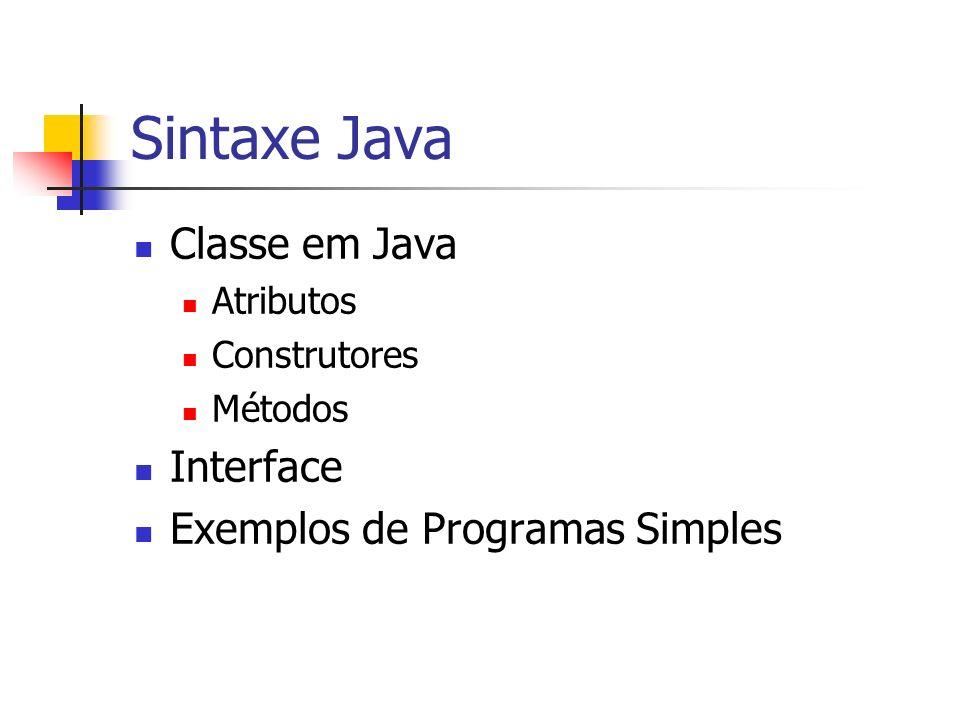 Sintaxe Java Classe em Java Atributos Construtores Métodos Interface Exemplos de Programas Simples
