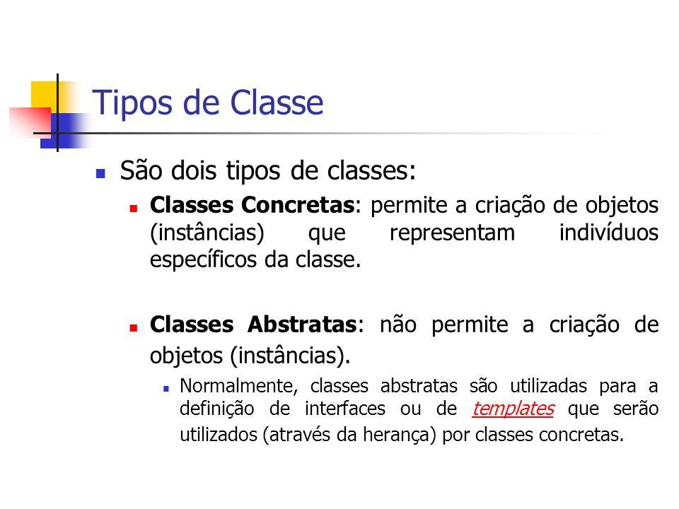 Tipos de Classe São dois tipos de classes: Classes Concretas: permite a criação de objetos (instâncias) que representam indivíduos específicos da clas