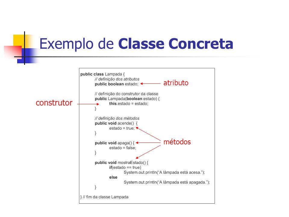 Exemplo de Classe Concreta construtor atributo métodos
