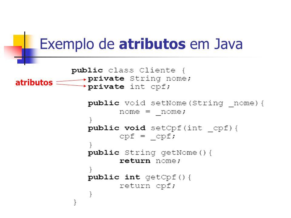 Exemplo de atributos em Java atributos