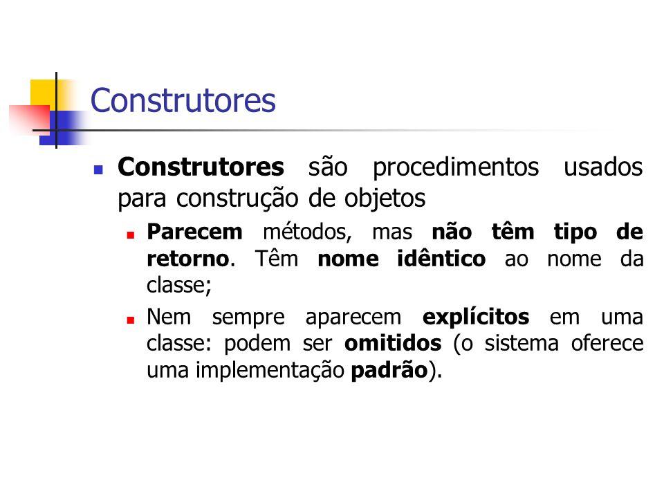 Construtores Construtores são procedimentos usados para construção de objetos Parecem métodos, mas não têm tipo de retorno. Têm nome idêntico ao nome