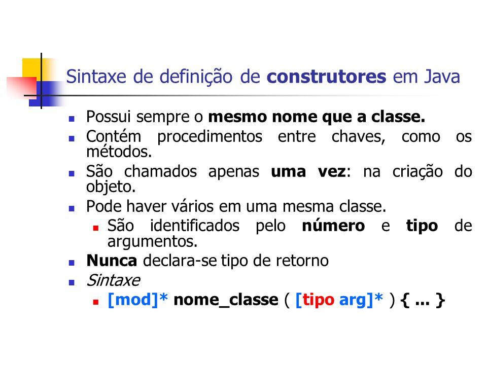 Sintaxe de definição de construtores em Java Possui sempre o mesmo nome que a classe. Contém procedimentos entre chaves, como os métodos. São chamados