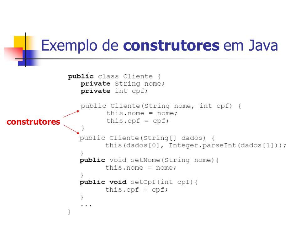 Exemplo de construtores em Java construtores