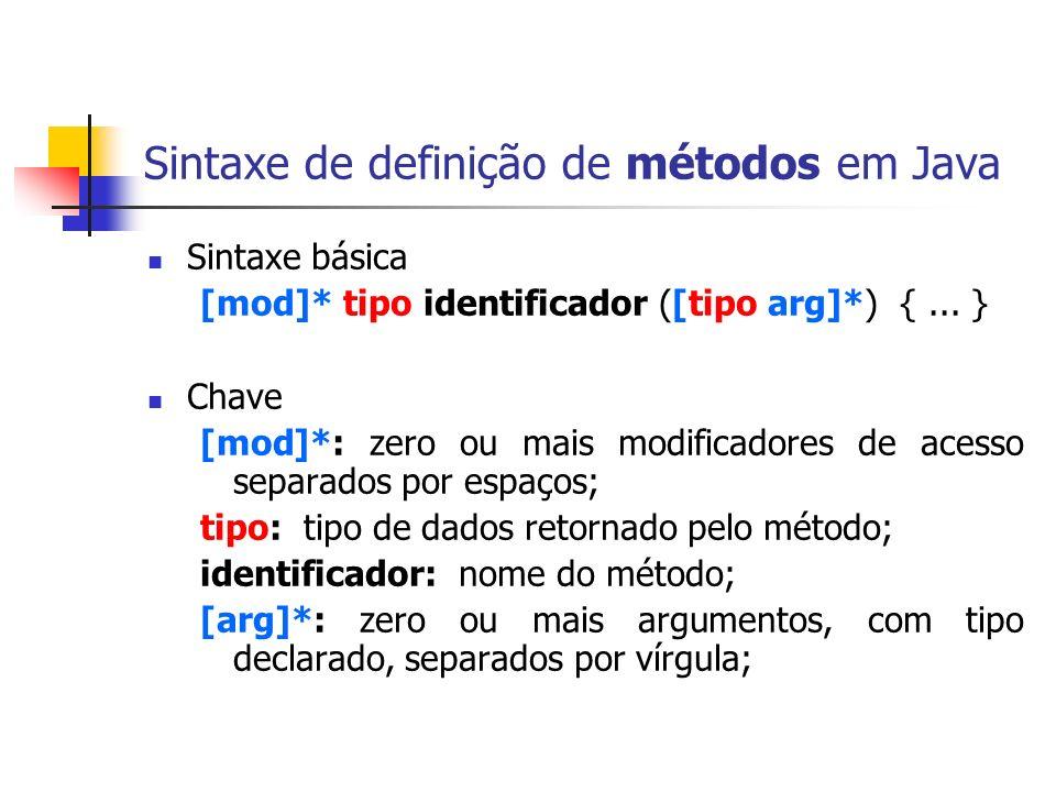 Sintaxe de definição de métodos em Java Sintaxe básica [mod]* tipo identificador ([tipo arg]*) {... } Chave [mod]*: zero ou mais modificadores de aces